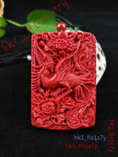 Chinese Natural Red Organic Cinnabar Phoenix Necklace Pendant Lucky Amulet Hot