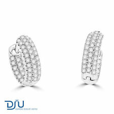 Hoop Natural White Gold Fine Diamond Earrings