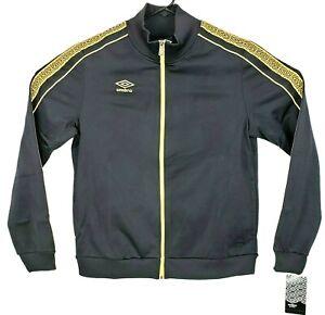 Umbro Premier Mens Size M Black Gold Full Zip Athletic Soccer Jacket UUM1UA3C