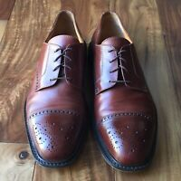 Louis Roth Mens Cap Toe Brogue Brown Leather Lace Up Oxford Shoes Size 12