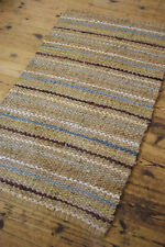 MULTI COLOUR STRIPE COTTON & JUTE RAG RUG RUNNER 75 x 135cm SHABBY RUSTIC CHIC