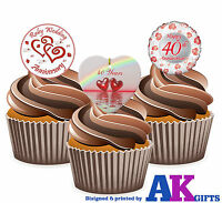 12 X 40th Wedding Anniversary Ruby Balloon Mix EDIBLE CAKE TOPPERS STAND UPS