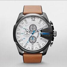Fashion White Watch Big Dial leather Band Steel Quartz Sport Analog Mens Watches