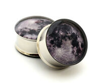 Pair of Moon Picture Plugs gauges Choose Size new