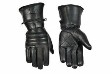 REAL SOFT LEATHER MEN'S WINTER MOTORCYCLE GAUNTLET RIDING GLOVES WITH RAIN COVER