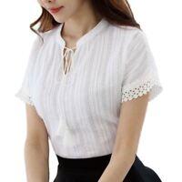 Cotton Shirt Short Sleeve Summer Women Blouses Tops Lace Hollow Out Blusas