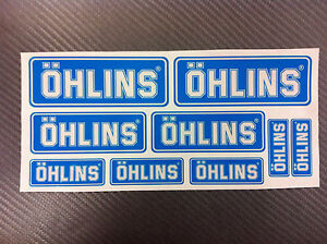 Kit 9 Adhesives Sticker Ohlins Blue On Clear