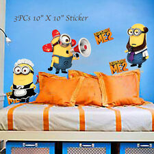 3 Minions Despicable Me 2 Removable Wall stickers Wall Decals Art Home Kids baby