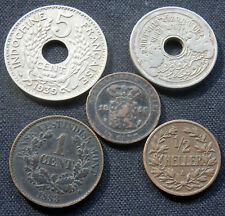 5 RARE COLONIAL COINS: GERMAN EAST AFR, DANISH WEST IND, DUTCH EAST IND, FR INDO