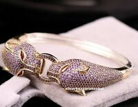 Turkish Handmade 925 Sterling Silver Purple Amethyst Ladies Woman Bracelet Bangl