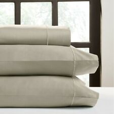 Bed Sheet Set Taupe Queen 520 Thread Count Cotton Fitted Deep Pocket Perthshire