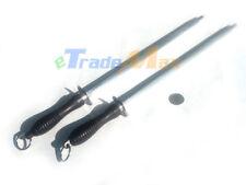 "Pair of 16"" 42HRC Pro Knife Sharpening Steel Sharpener Black Rubber Handle"