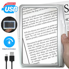 [Rechargeable] 3X Large Ultra Bright LED Page Magnifier with 12 Dimmable LEDs