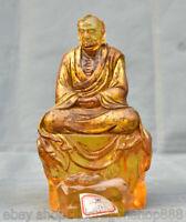 """Sculpture Lohan de Bouddhiste Feng Shui de 8 """"vieille Chine colorée Glaze"""