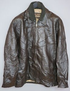 Men Columbia Jacket Brown Leather Casual Heavy L ZFA674