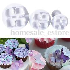 3pcs Laurustinus Hydrangea Flower Fondant Cake Cookie Plunger Cutter Mould Mold