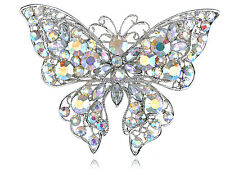 Aurora Borealis Crystal Rhinestone Flutter Butterfly Custom Fashion Broach Lady