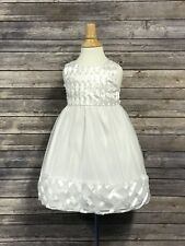 American Princess Flower Girl Dress White Satin Sleeveless Pearls Size 3T