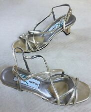 New Ros Hommerson Metallic Gold Strappy Slingback Sandals Low Heels size 8N