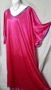 """Comfort Choice BERRY TEAL  NIGHTGOWN  Long Short Sleeve SIZE 5X  76"""" Bust"""