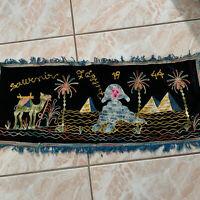 "Vintage WW2 1944 Souvenir of Egypt Table or Dresser Runner 30"" X 13 Sphinx"