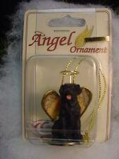 BLACK LAB dog ANGEL Ornament HAND PAINTED Figurine NEW puppy Christmas LABRADOR