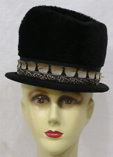 Vintage Ladies Hat Black Fur Felt with Feather Around Crown Blk Grosgrain Ribbon