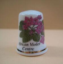 Vintage decorative porcelain Flower thimble, African Violet Centre