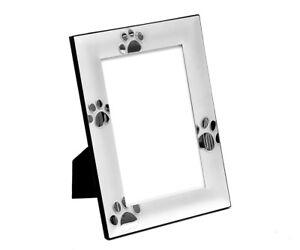 Bilderrahmen Pfotenabdrücke 10x15cm Foto-Rahmen Hunde-Pfoten matt Katzen-Tapsen
