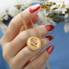 Stylish Chic Women Gold Rose Flower Round Coin Pendant Chain Necklace Jewelry