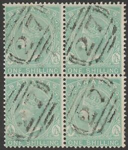 Bahamas 1882 QV 1sh Green Block of 4 Used SG44 Numeral 27 Postmarks cat £60