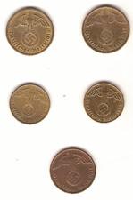 5 monnaies Allemagne,1937, 1938.