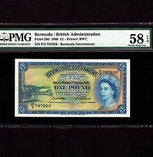Bermuda 1 Pound 1966 P-20d * PMG AU 58 EPQ * Queen Elizabeth *