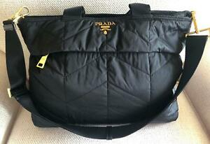 EUC LARGE PRADA MILANO NYLON QUILTED TOTE/CROSSBODY BLACK GOLDTONE HARDWARE