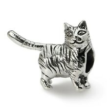 American Shorthair Cat Bead .925 Sterling Silver Antique Finish Reflection Beads