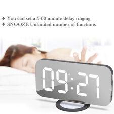 Digital Funk Wecker Alarm Alarmwecker LED Tischuhr Thermometer Snooze Spiegel DE