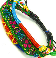Cool rainbow colourful braided friendship red green bracelet boy's WB100