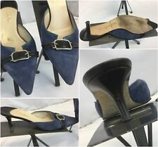 Cole Haan Pumps Shoes Sz 7 B Blue Suede Buckle Made Italy Worn 2x YGI G8