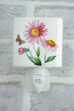 Daisy Ceramic Night Light Plug In On/Off Switch Nightlight Tea Light Pink 4567