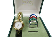 Auth GUCCI 11/12.2 Gold Plated Bangle Women's Watch / Bezel Set - 5 Pieces
