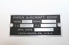 Piper J3 Cub Data Plate, Lock Haven, Wow!