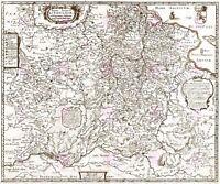 Map Antique Merian 1650 Grand Duchy Lithuania Large Replica Canvas Art Print