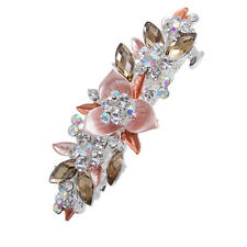 Flower Barrette Hair Clips Hairpin Hair Pin Rhinestone Crystal Champagne
