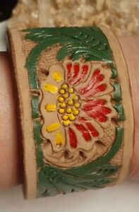 Tropical Flower Leaf Painted Designer Leather Bracelet Size Small