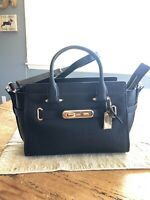 COACH 87295 Swagger 27 Black  Pebble Leather Satchel Purse NWT/450.00