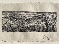 Woodcut Print Joshua Forest Southwest Desert Landscape HM Paper