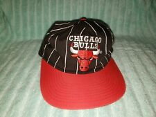58dfe2957c3 90s vintage STARTER chicago bulls SnapBack Pinstripe Hat NBA Black and red