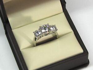 2.00 Ct 3 Stone Diamond Engagement Wedding Ring 14K Real White Gold Size M N O