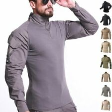 Para Hombres Camisa camisa de mangas largass de Combate Táctico Camuflaje Del Ejército Camiseta Informal