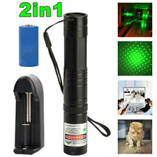 900Miles Green Laser Pointer Pen Portable Funny Pet Toy+Star Cap+Battery+Charger